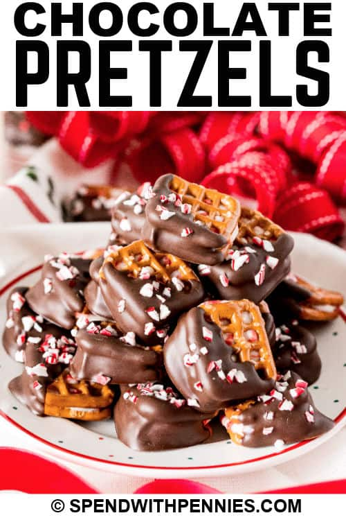 plate full of Peppermint Bark Pretzel Bites with writing
