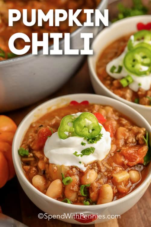 Pumpkin Chili in white bowls with a title