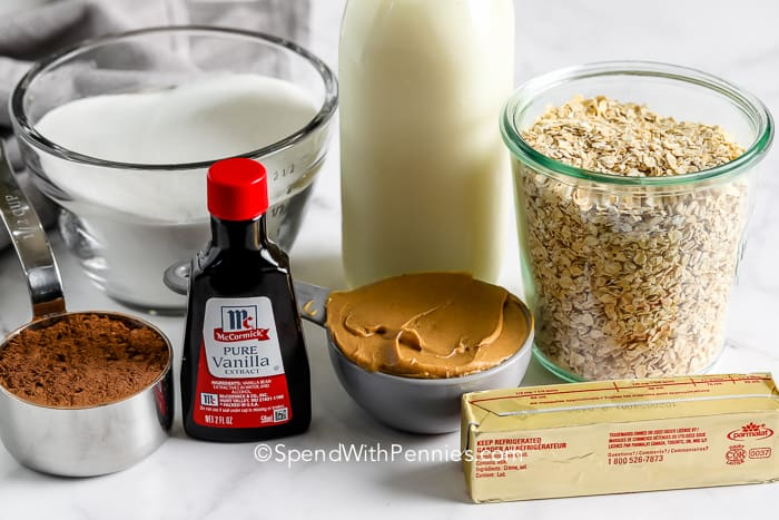 ingredients for No Bake Cookies on a marble board