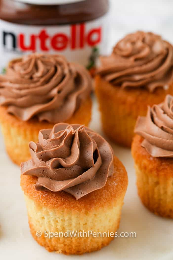 close up of cupcakes with Nutella Frosting