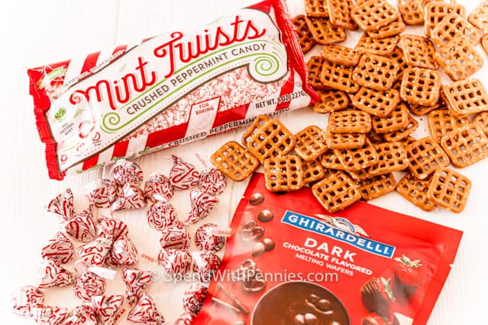 ingredients to make Peppermint Bark Pretzel Bites