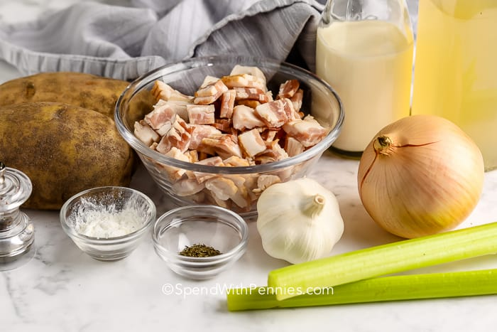 ingredients for Potato Bacon Soup on a marble board