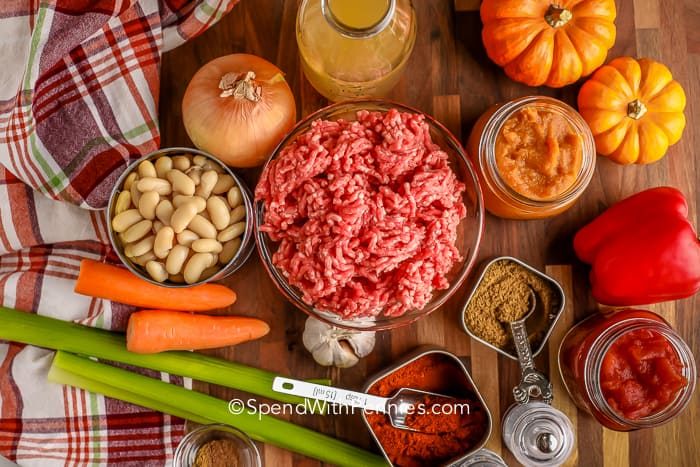 ingredients for Pumpkin Chili on a wooden board