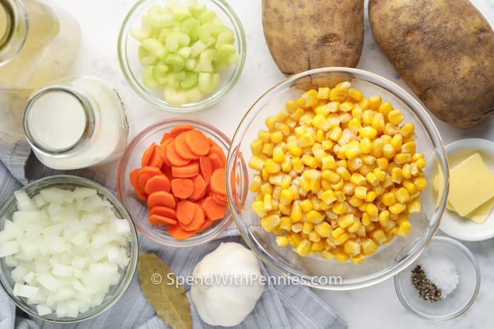 ingredients to make Quick Potato Corn Chowder