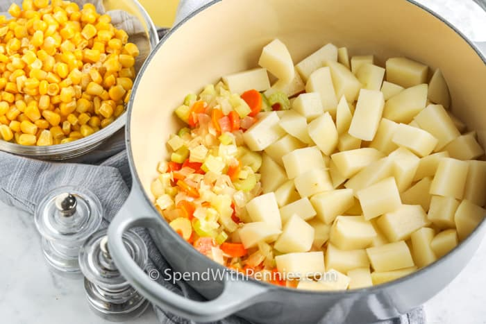 ingredients in a pot and bowl to make Quick Potato Corn Chowder