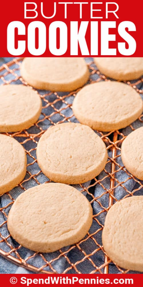 Butter Cookies on a rack with a title