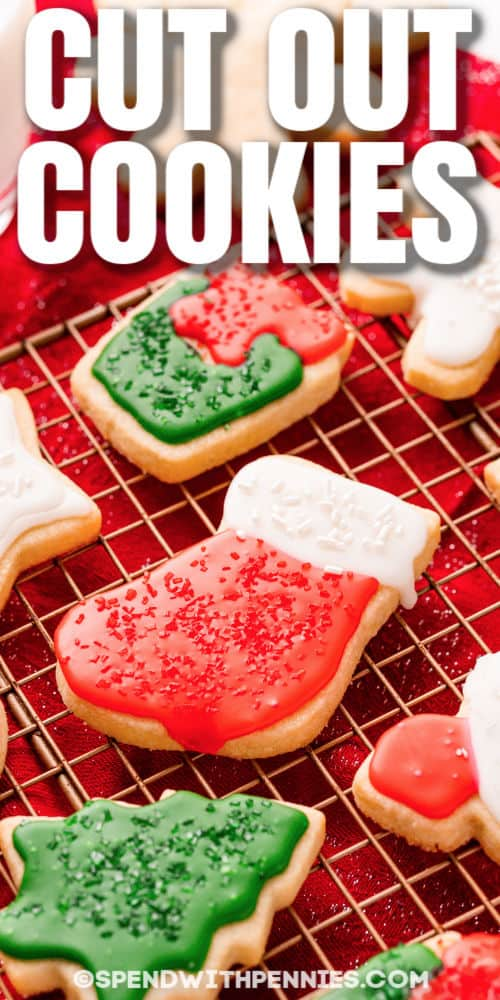 iced Christmas Cut Out Cookies with a title