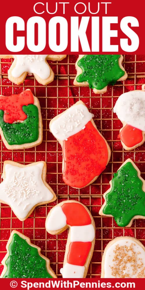 Christmas Cut Out Cookies on a rack with a title