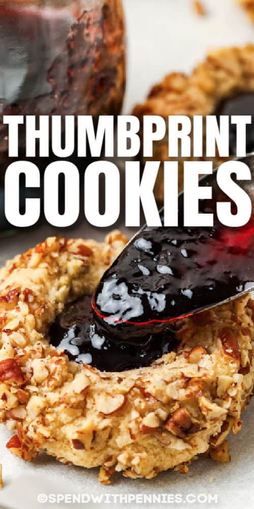 close up of Classic Thumbprint Cookies with a title