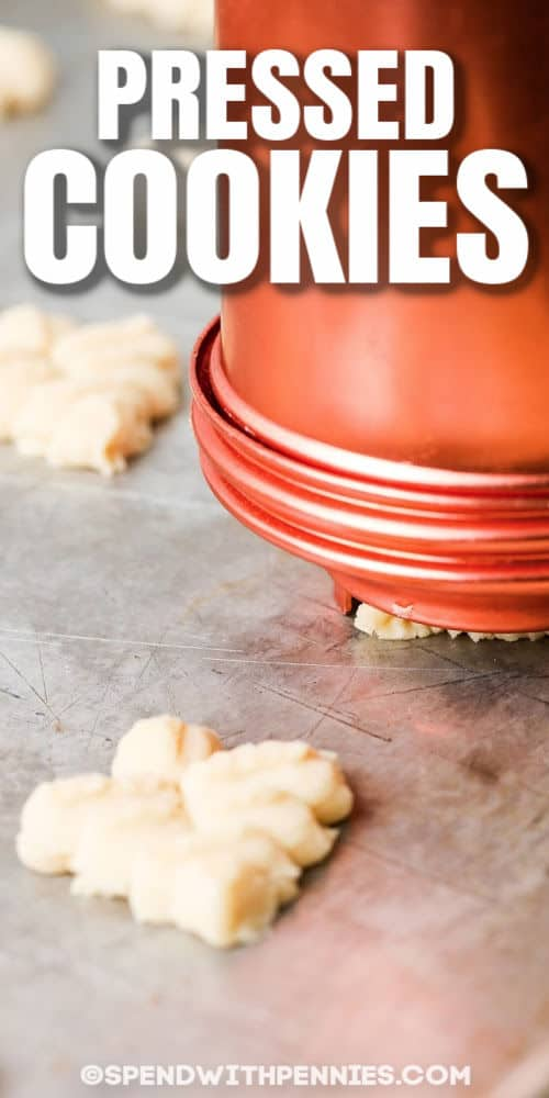 making Easy Shortbread Cookies with a cookie press and a title