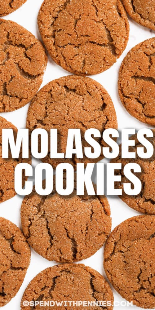 top view of Molasses Cookies with a title
