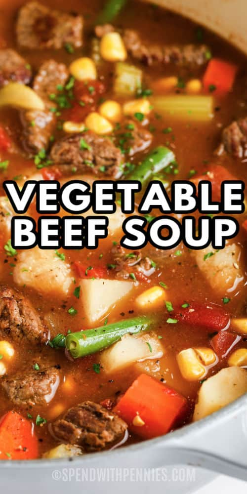 close up of Vegetable Beef Soup in a pot with a title