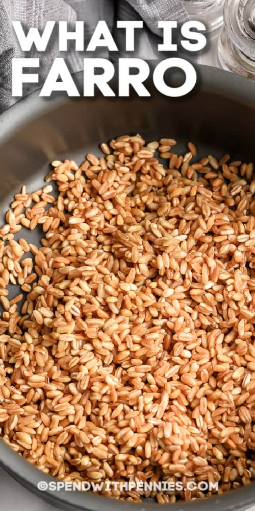 Farro in a pot with a title