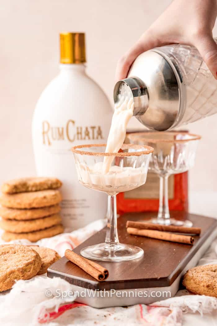 pouring Snickerdoodle Cocktail in a rimmed glass