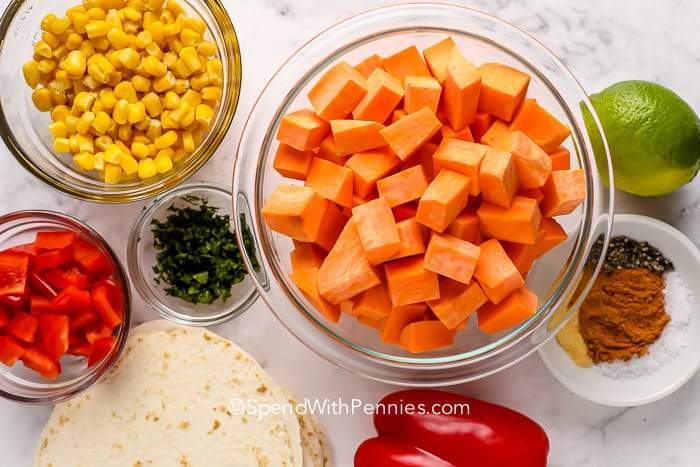 ingredients for Sweet Potato Tacos on a marble board