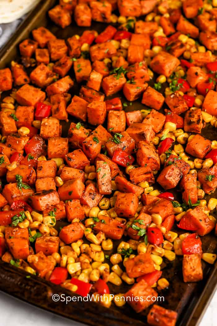 roasted sweet potatoes and corn for Sweet Potato Tacos