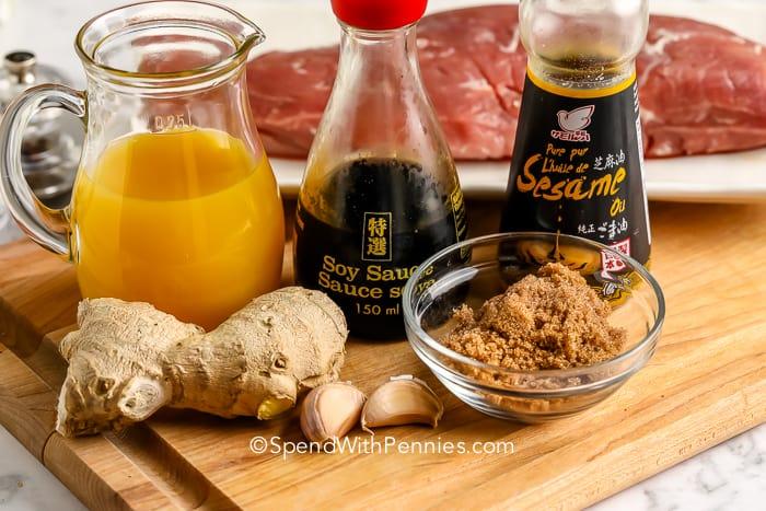 Ingredients for Teriyaki Pork Tenderloin marinade