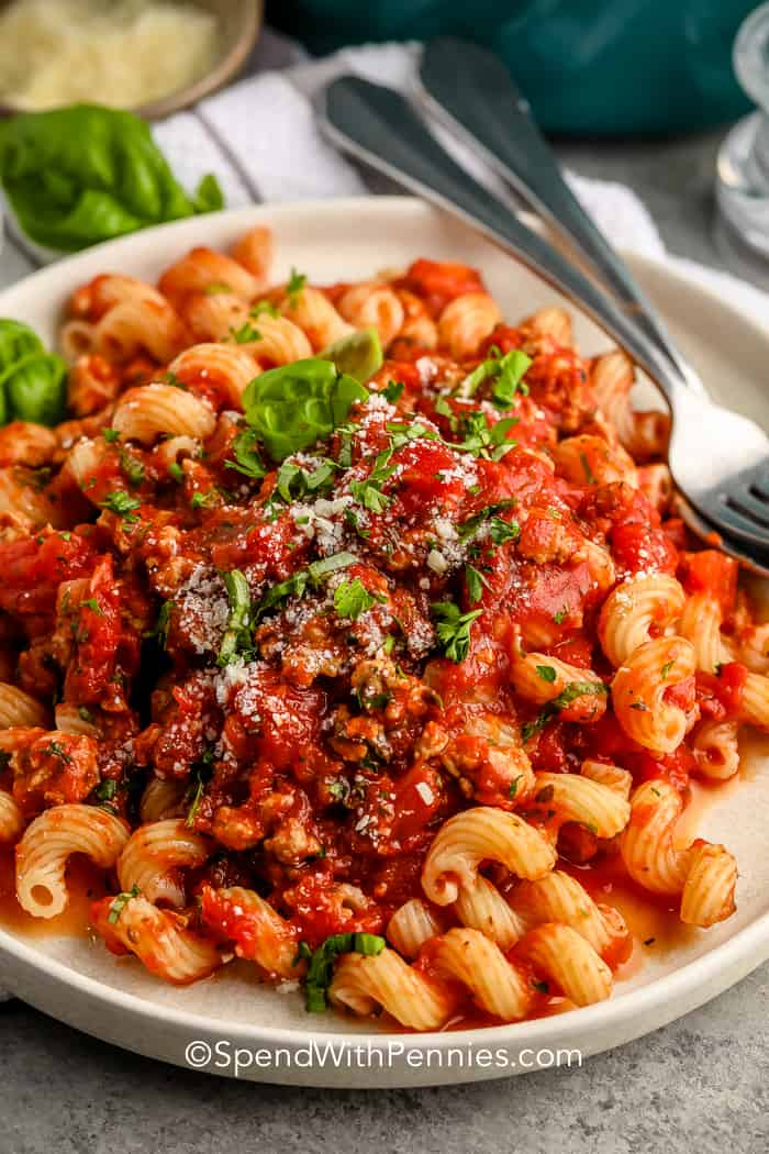 Turkey Spaghetti Sauce on a plate with pasta