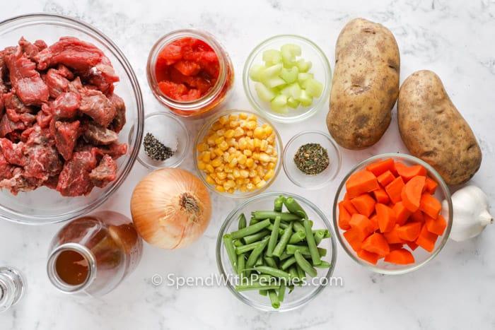 ingredients to make Vegetable Beef Soup