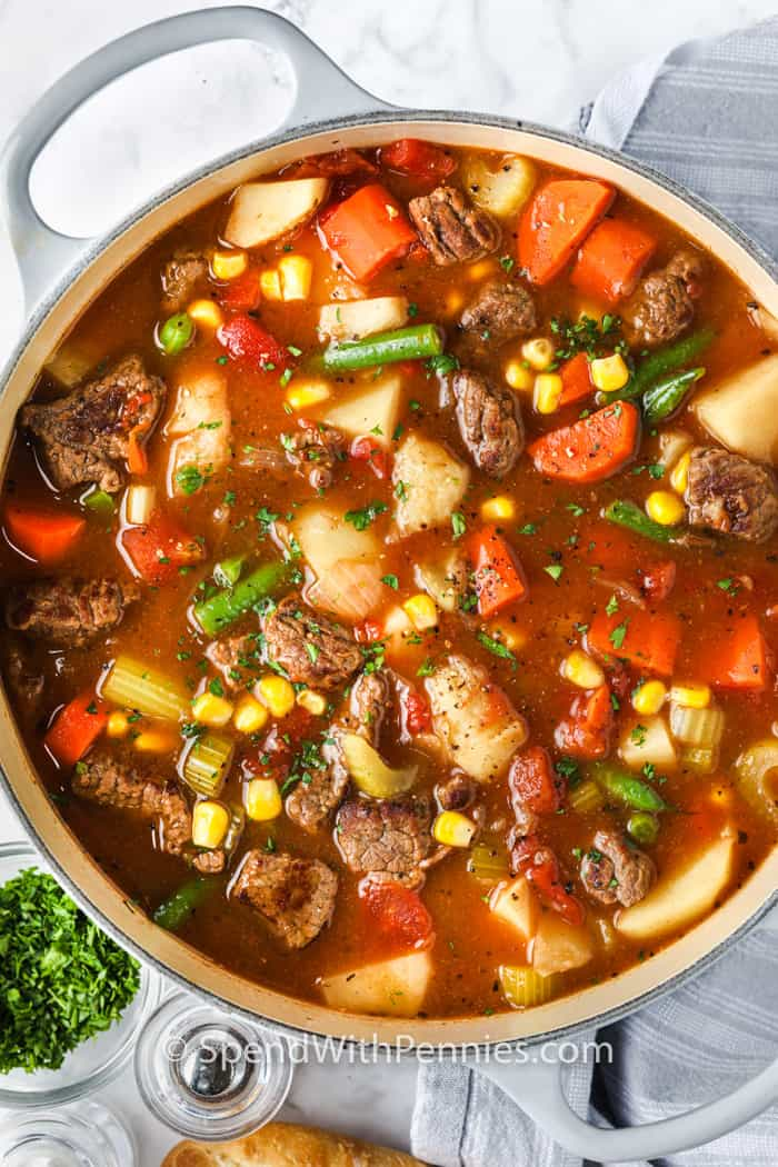 top view of Vegetable Beef Soup in a pot