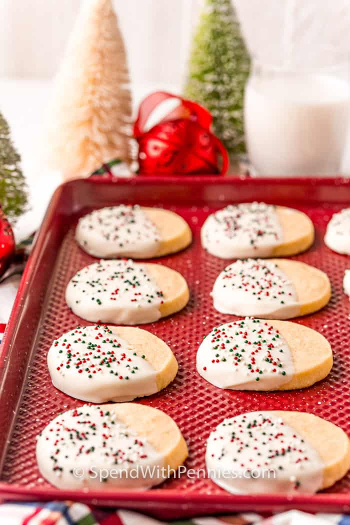 White Chocolate Cookies on a cookie sheet