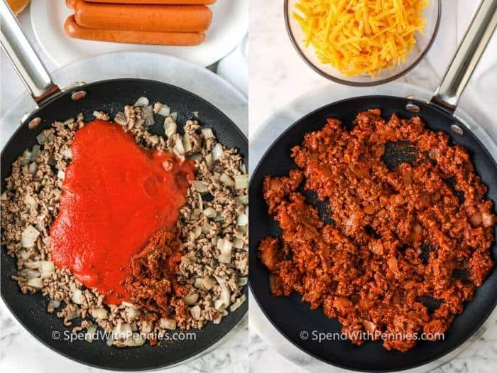 process of adding ingredients to pan to make Chili Cheese Dogs