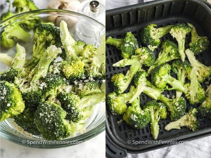 process of mixing ingredients and adding Crispy Garlic Air Fryer Broccoli to the air fryer