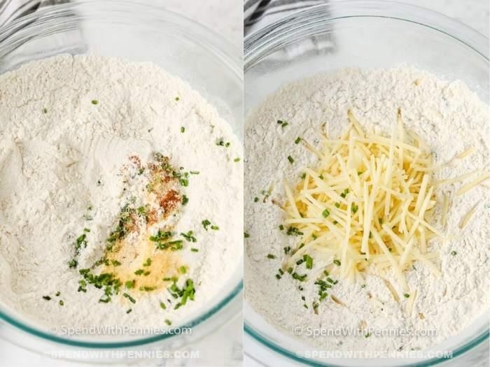process of adding dry ingredients to make Garlic Drop Biscuits