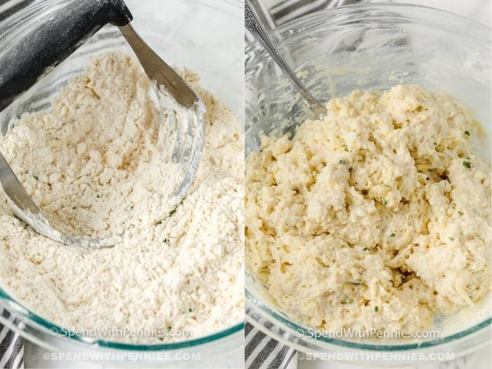 process of adding in wet ingredients to dough to make Garlic Drop Biscuits