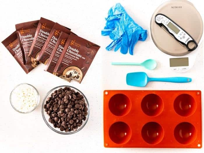 ingredients to make Hot Chocolate Bombs
