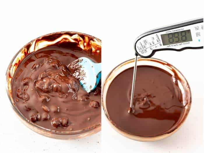 process of checking temperature of melted chocolate