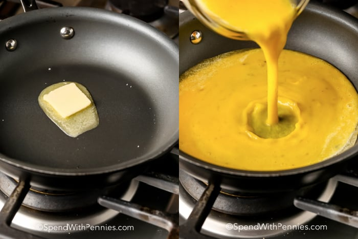 butter melting in a pan and eggs being poured into a pan for How To Make A Omelette