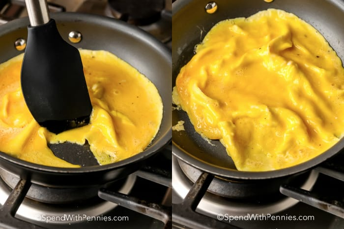 omelette cooking in a pan with and without a spatula