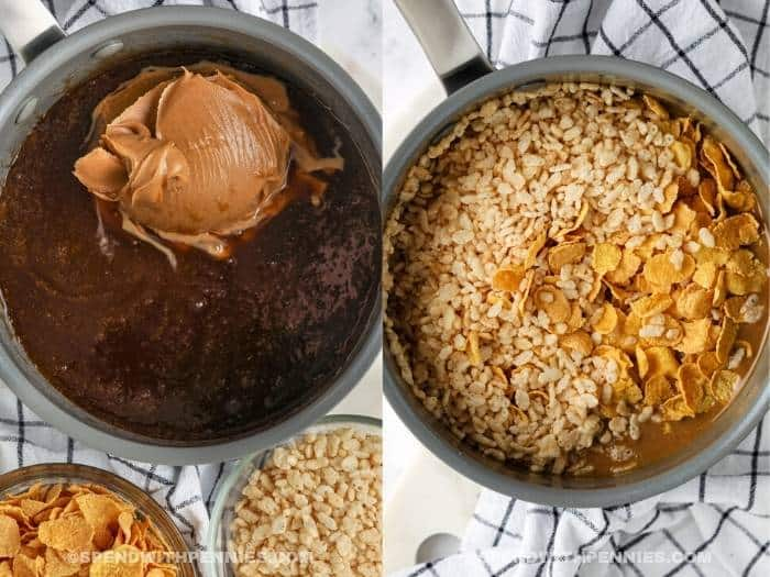 process of adding ingredients to pan to make No Bake Peanut Butter Squares