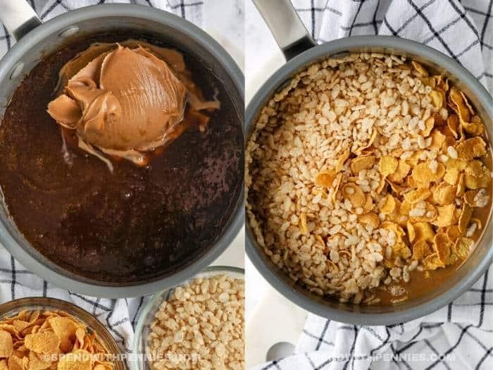 process of adding ingredients to pan to make No Bake Peanut Butter Squares