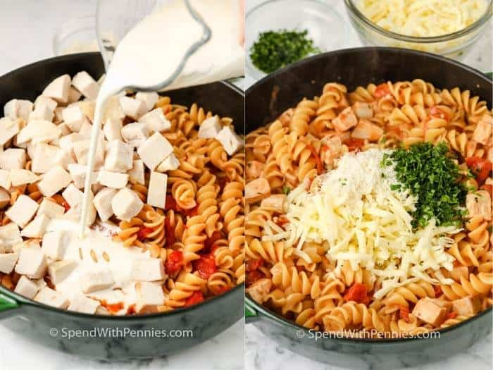 process of adding ingredients to a pot to make One Pot Rotini Pasta