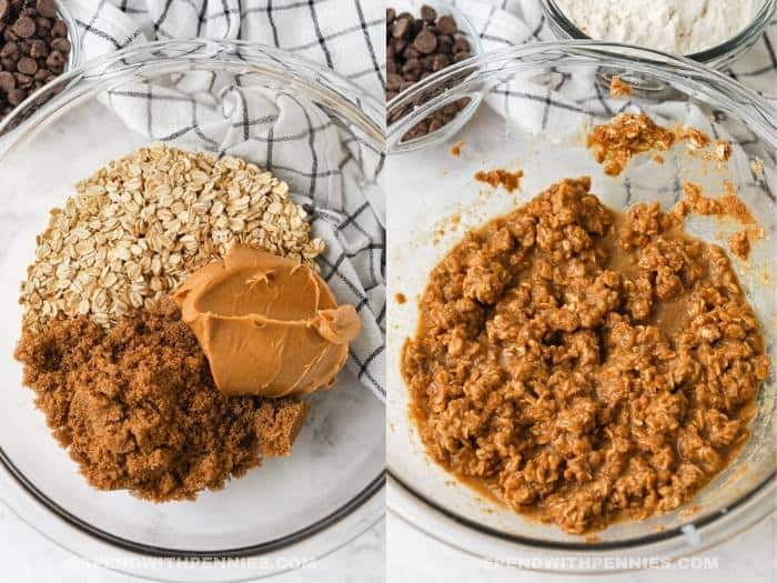 ingredients in a bowl and mixed to make Peanut Butter Oatmeal Bars