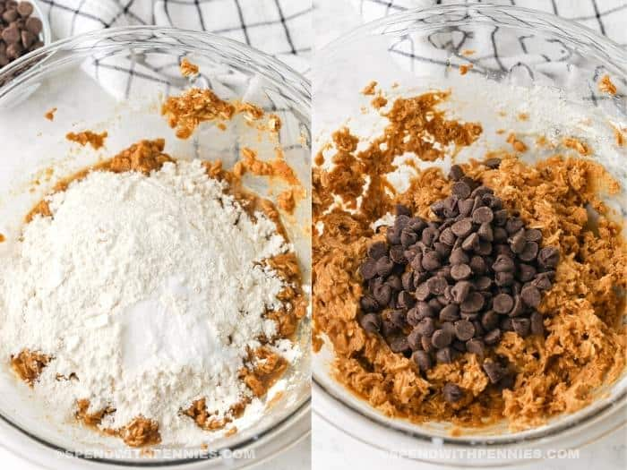 process of adding ingredients to bowl to make Peanut Butter Oatmeal Bars