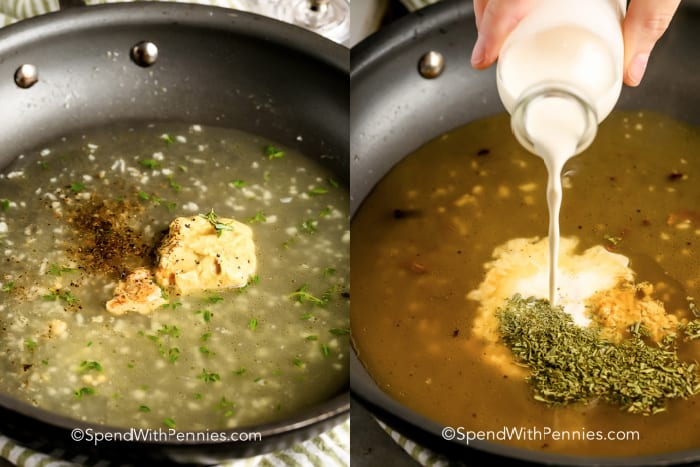 sauce ingredients in a pan for Pork Tenderloin with Dijon Sauce with and without milk being poured in