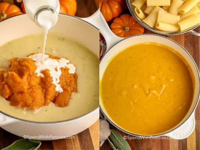 adding cream to pumpkin in a pot