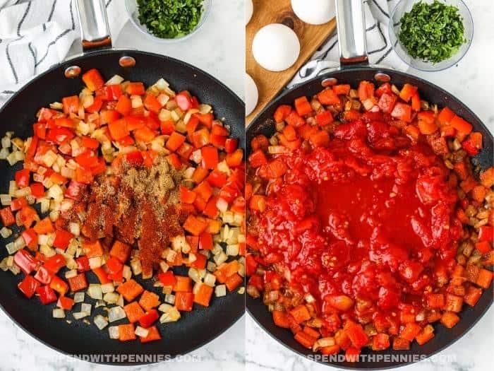 process of adding ingredients to pan to make Shakshuka
