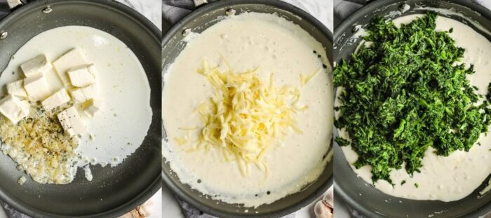 steps for making spinach gratin