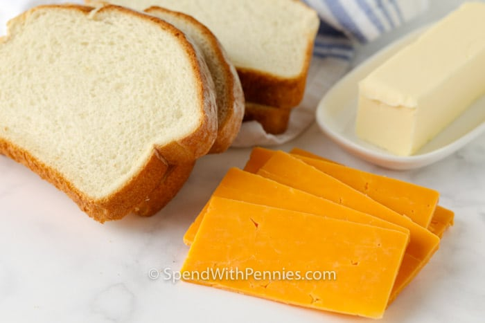 ingredients for air fryer grilled cheese on a marble board