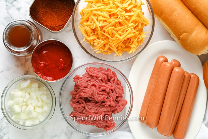 ingredients to make Chili Cheese Dogs