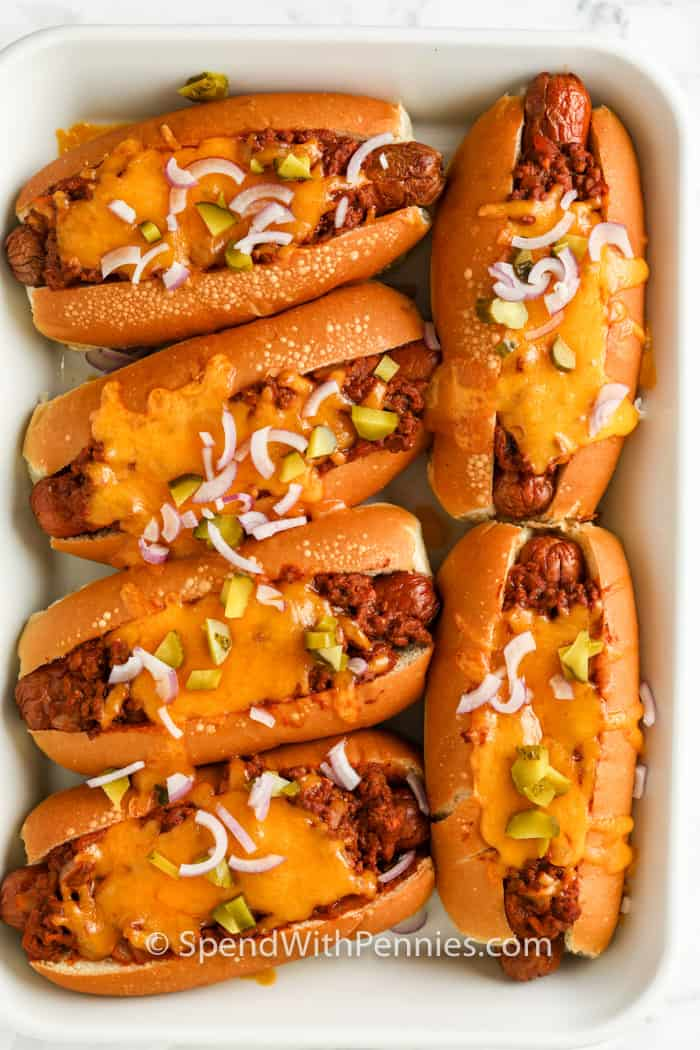 top view of finished Chili Cheese Dogs