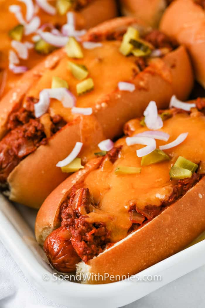 Chili Cheese Dogs on a dish