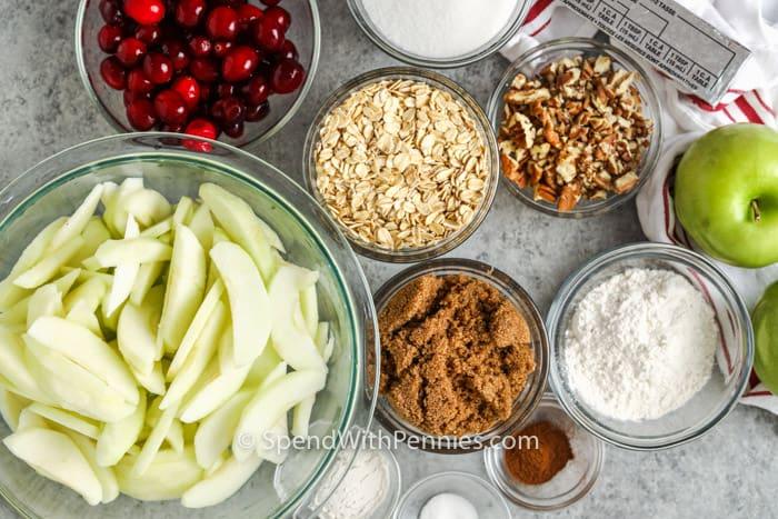ingredients to make Cranberry Apple Crisp