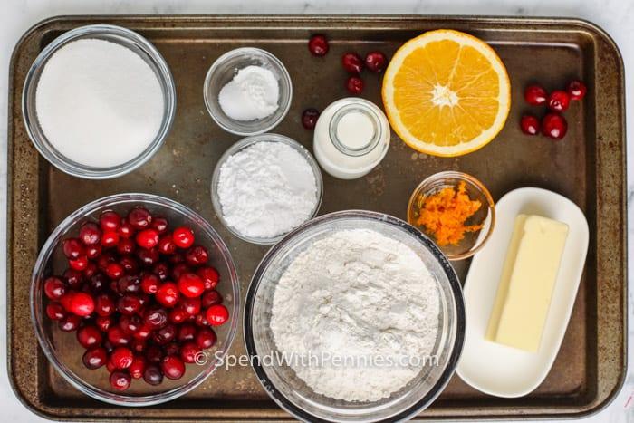 ingredients to make Cranberry Orange Loaf