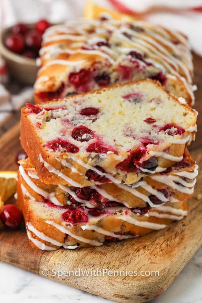 Cranberry Orange Loaf cut into slices