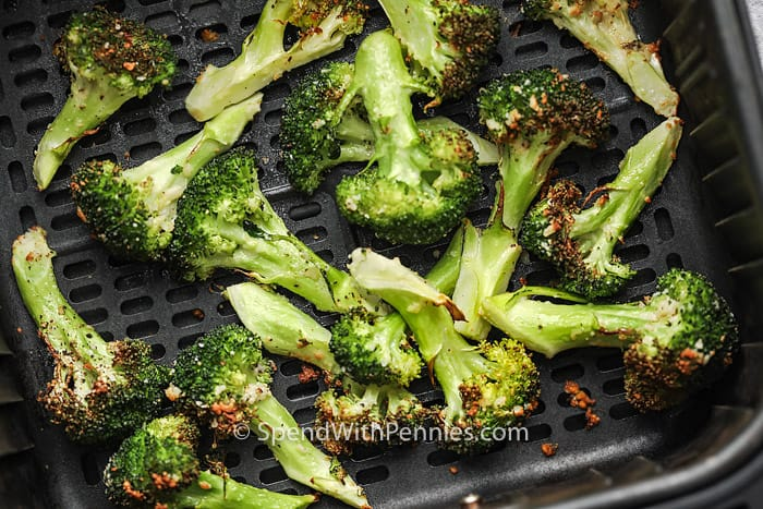 close up of Crispy Garlic Air Fryer Broccoli cooked in the air fryer
